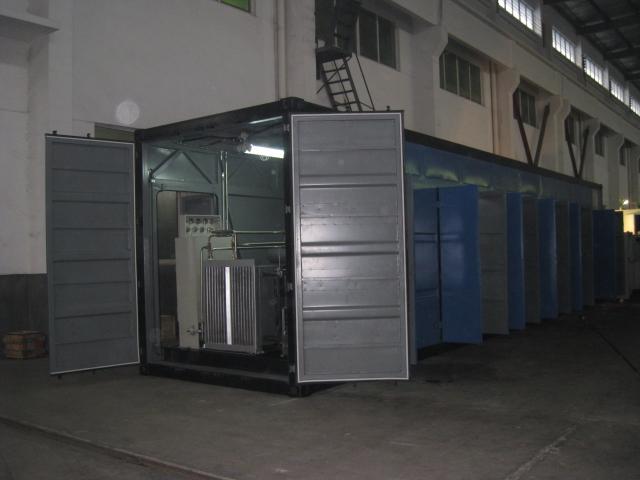 Дожимной компрессор в эксплуатационном пэкидже в габаритах 40 футового контейнера ( там же собран блок ресиверов для мАГНКС)